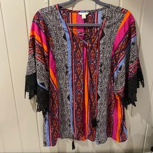 Est 1946 Cato Mult Color Boho Cross Tie  Blouse